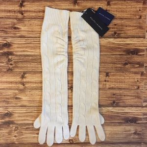 Ralph Lauren Cashmere Luxe Long Cable Glove NWT